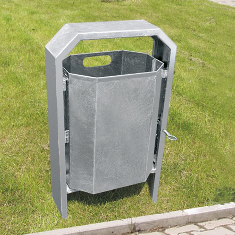 Image of Robuster Stahl-Abfallbehälter für Aussenflächen Dieser robuste Stahl-Mülleimer mit 40 l Fassungsvermögen findet im Aussenbereich Anwendung. Am Abfalleimer befindet sich eine Vorrichtung, die es ihnen erleichtert, den Behälter sicher zu betonieren. Mit dem