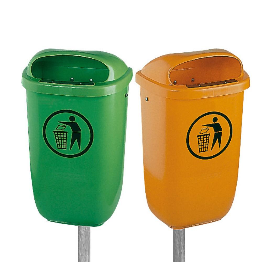 Image of Hitze- und kältebeständiger Abfallbehälter aus Kunststoff Der Abfallbehälter nach DIN 30713 wurde für den Einsatz im Aussenbereich konstruiert. Befestigen Sie den Abfallbehälter über die verzinkte Universalhalterung an der Wand oder einem Pfosten. Die daf