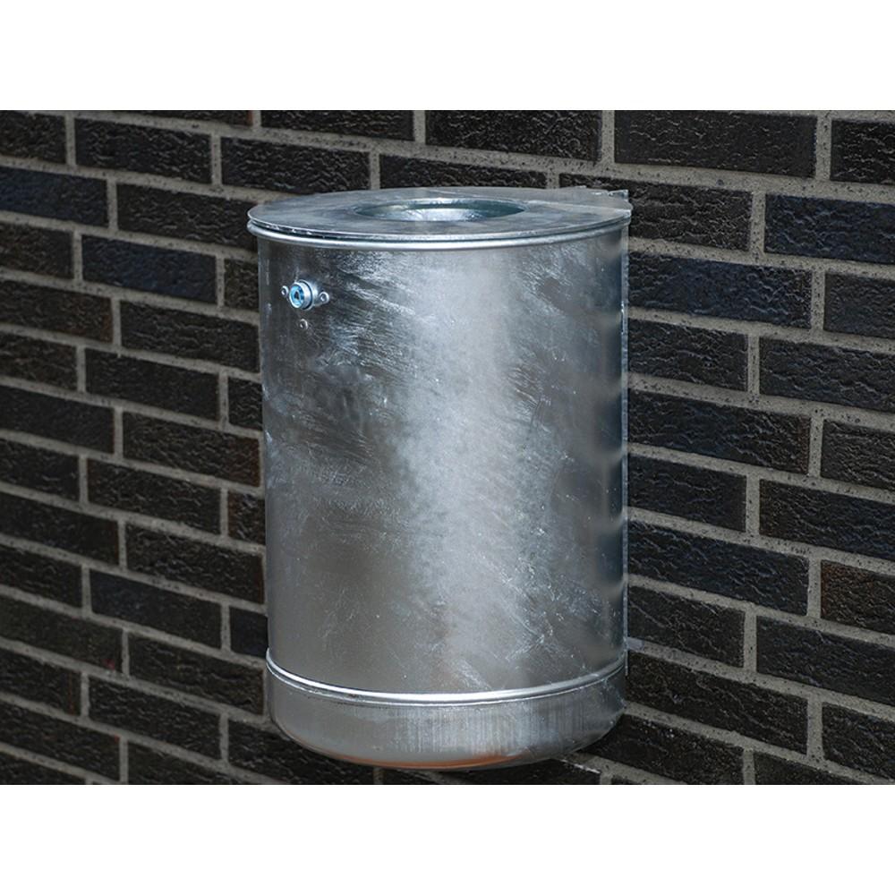 Image of Wetterbeständiger Abfallbehälter aus Stahlblech – für Sauberkeit im Aussenbereich Um das Betriebsgelände ordentlich und sauber zu halten, sind Abfallbehälter unverzichtbar. Der 50-Liter-Abfalleimer aus verzinktem Stahl eignet sich durch sein grosses Behäl