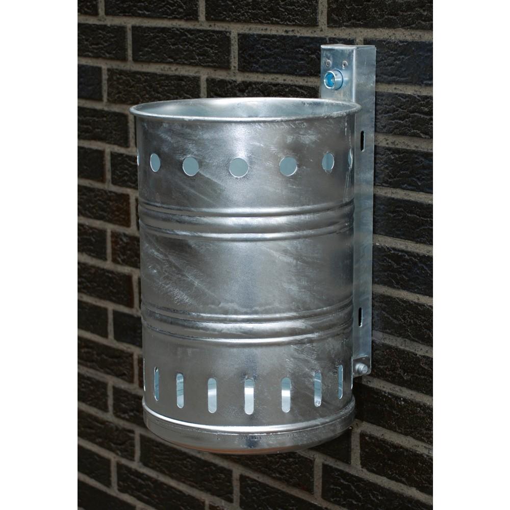 Image of Abfallbehälter zur Wandbefestigung im Aussenbereich Der Abfallbehälter aus Stahl, rund, Wandmontage eignet sich wegen des feuerverzinkten Stahlblechs optimal für den Aussenbereich. Der Abfallbehälter ist durch eine Befestigungsschiene an der Wand anzubrin