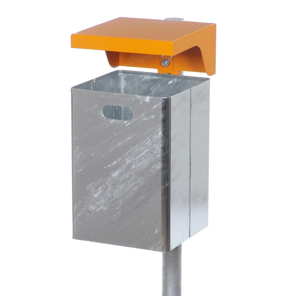 Image of Wetterbeständiger Abfalleimer mit Universalhalterung Auf dem Betriebsgelände anfallenden Abfall können Sie bis zur endgültigen Entsorgung in diesem Abfallbehälter aus Stahlblech sammeln. Durch die Feuerverzinkung ist der Stahl langlebig und korrosionsbest