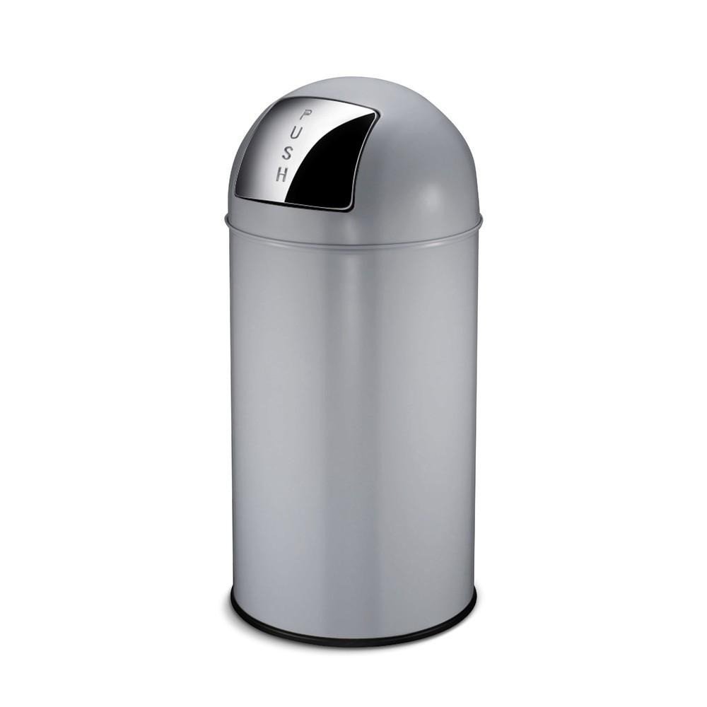 Image of Stahl-Abfalleimer mit 40 Liter Fassungsvermögen Im professionellen Umfeld sollte Ihre Müllentsorgung so unkompliziert und bedienungsfreundlich wie möglich sein. Hier ist der Push-Mülleimer eine optimale Unterstützung: Dank seiner grossen selbstschliessend