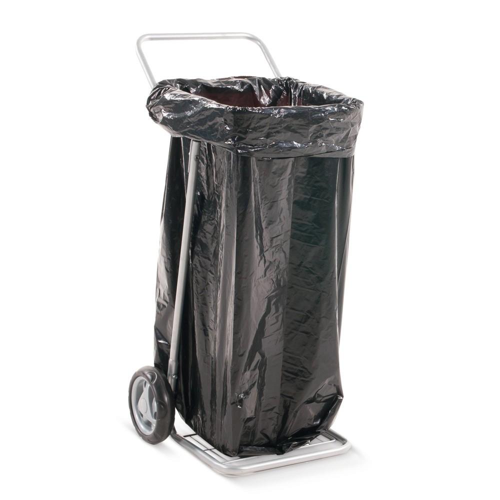 Image of Abfall einfach mobil einsacken Im Kampf gegen Müll hilft nur eins: der praktische Abfallsackhalter BASIC, mit 2 Vollgummirädern. Sammeln Sie mit dem fahrbaren Abfallsackständer ganz bequem Unrat und Dreck auf. Bis zu 125 l Müllsäcke fasst der pulverbeschi
