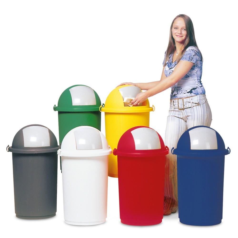 Image of Kunststoff-Abfallbehälter für einfache Bedienung Dieser Kunststoff-Abfalleimer eignet sich gleichermassen für die betriebliche wie die private Nutzung. Seine Einwurfklappe lässt sich schnell öffnen und schliesst nach der Müllentsorgung von selbst. Der Abf