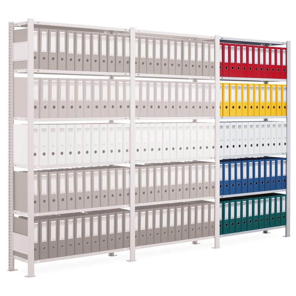 Image of Praktische Erweiterungsmöglichkeit für die Büroregale aus Metall Mit diesem Büro-Regalsystem aus Metall sorgen Sie für ausreichend Stauraum in der Registratur. Ist eine Regalzeile mit Aktenordnern gefüllt, bauen Sie schnell und unkompliziert eine weitere