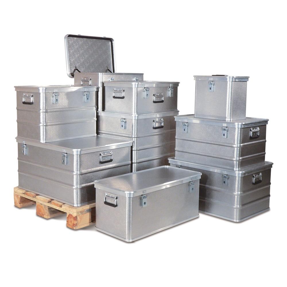 Image of Praktische Alu-Kiste zum Transportieren, Verpacken und Lagern Möchten Sie kleinteilige oder empfindliche Waren sicher transportieren, dann sind die Alu-Transportkisten Profi mit Deckel ideal. Durch den umlaufenden Stapelrand am Deckel lassen sie sich im L