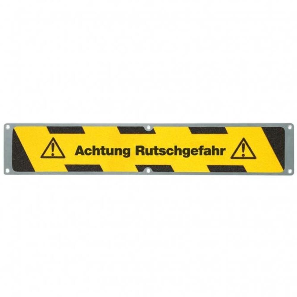 Image of Antirutschplatte aus stabilem Aluminium mit Hinweis Die Anti-Rutschplatte 'Achtung Rutschgefahr' zeichnet sich durch ihre abriebfeste und rutschsichere Oberfläche aus. Die Anti-Rutschplatte ist korrosionsfest und daher für den Einsatz im Innen- und Aussen