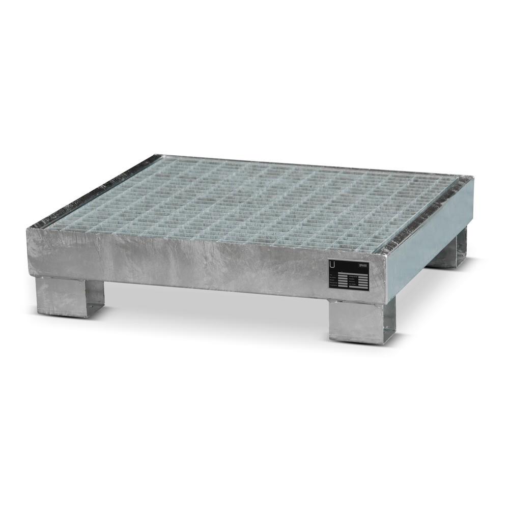 Image of Stabile Auffangwanne zur Lagerung von brennbaren oder wassergefährdenden Stoffen Die Auffangwanne aus Stahl, für 60-Liter-Fässer ist aus dicht geschweisstem Stahlblech gefertigt und für den Einsatz im Innen- oder überdachten Aussenbereich vorgesehen. Die