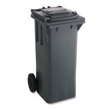 Schwarze Mülltonne aus Kunststoff