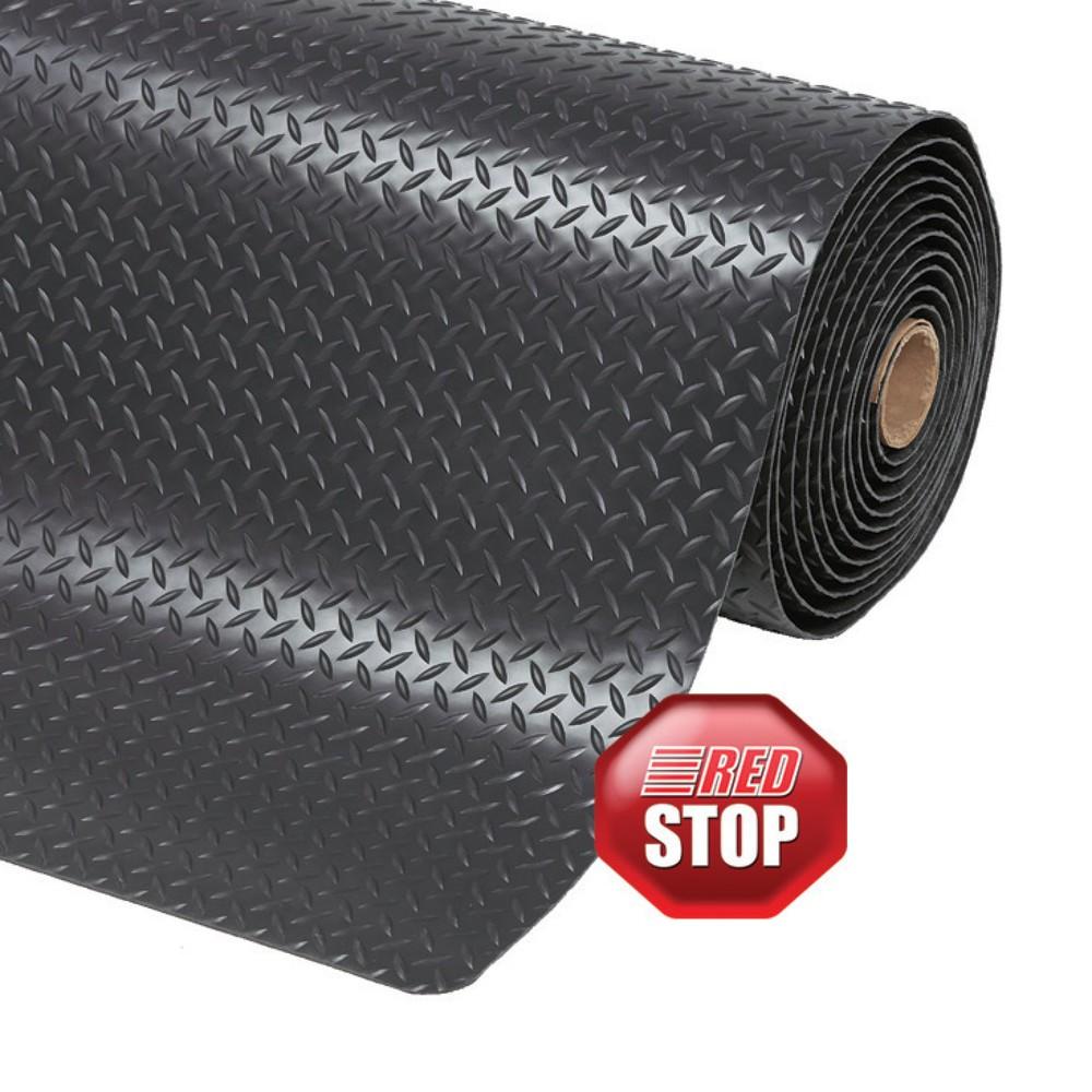 Image of 2-lagige Vinyl-Bodenmatte für ermüdungsfreies Arbeiten Diese rutschfeste 2-lagige Bodenmatte aus PVC (Polyvinylchlorid) ist befahrbar, schwer entflammbar und beständig gegen Öle sowie viele Chemikalien. Dadurch können Sie die Matte auch in der Industrie a