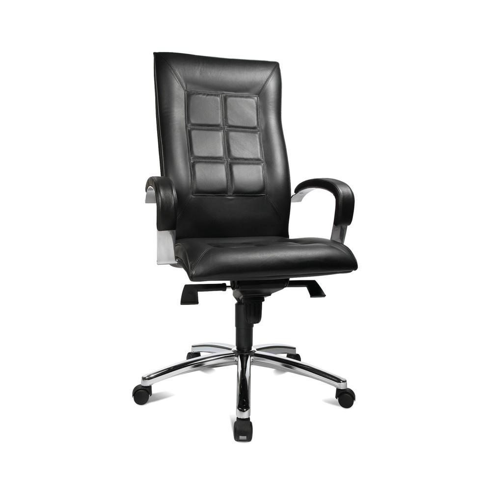 Image of Hochwertiger Drehstuhl mit individuellen Sitzeinstellungen für ergonomisches Arbeiten Der Bürodrehstuhl Topstar® Chairman 45 bringt viele sinnvolle ergonomische Features mit und sieht dabei edel aus. Aufwändig gestepptes Rindsleder auf der Rückenlehne mac