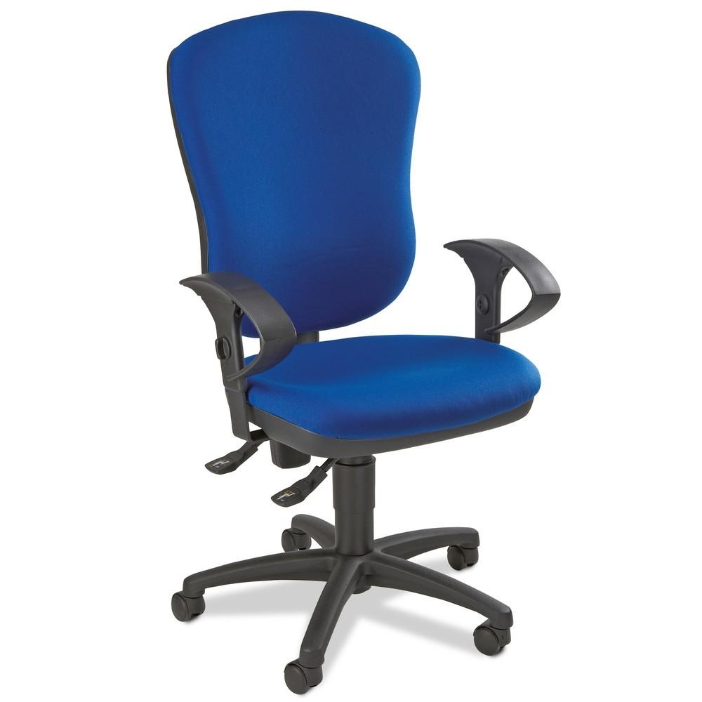 Image of Bürodrehstuhl Point 80 mit extra breiter Rückenlehne Dieser Bürodrehstuhl verfügt über eine konturgeformte Rückenlehne und stützt so Ihren gesamten Rückenbereich. Die Neigung der Lehne verstellen Sie mithilfe der integrierten Permanentkontaktmechanik. Ebe