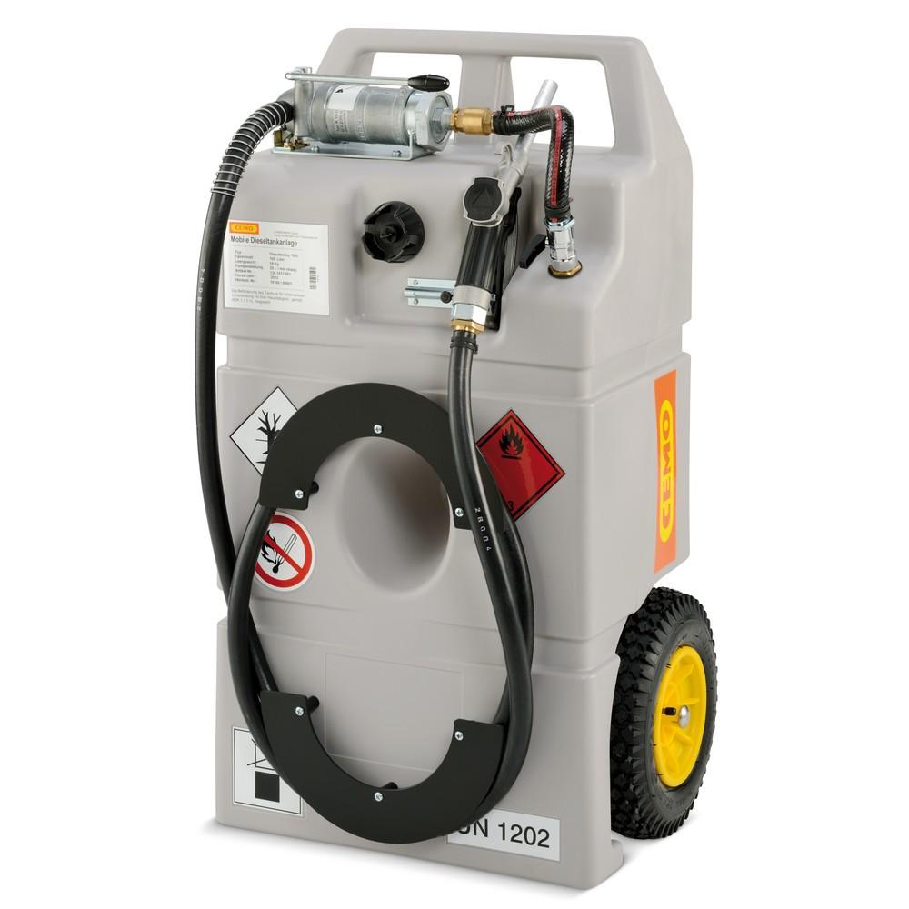 Image of Die mobile Tankanlage für Dieseltreibstoff Mit dem Diesel-Trolley CEMO können Sie sicher und vorschriftsmässig Kraftstoff transportieren. Gemäss der Handwerkerregelung ADR 1.1.3.1 c ist der Transport von Kraftstoff mit diesem Produkt für den unmittelbaren