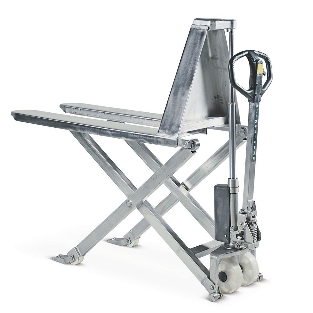 Image of Die Vorteile eines Edelstahlhubwagens und eines Scherenhubwagens nutzen Der Edelstahl-Scheren-Hubwagen BASIC ist ein günstiges Einstiegsmodell in das Segment der Edelstahlhubwagen. Er ist aus V2A-Edelstahl gefertigt und zeichnet sich durch eine erhöhte Be