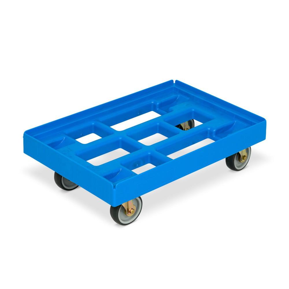 Image of Sicherer, stabiler Transport mit dem Eurokastenroller aus Polyethylen Eine Transporthilfe wie der Eurokasten-Roller mit Kunststoffrahmen erleichtert Ihnen die Arbeit und macht Arbeitsprozesse schneller und effektiver. Dieser Transportwagen aus HDPE-Granul