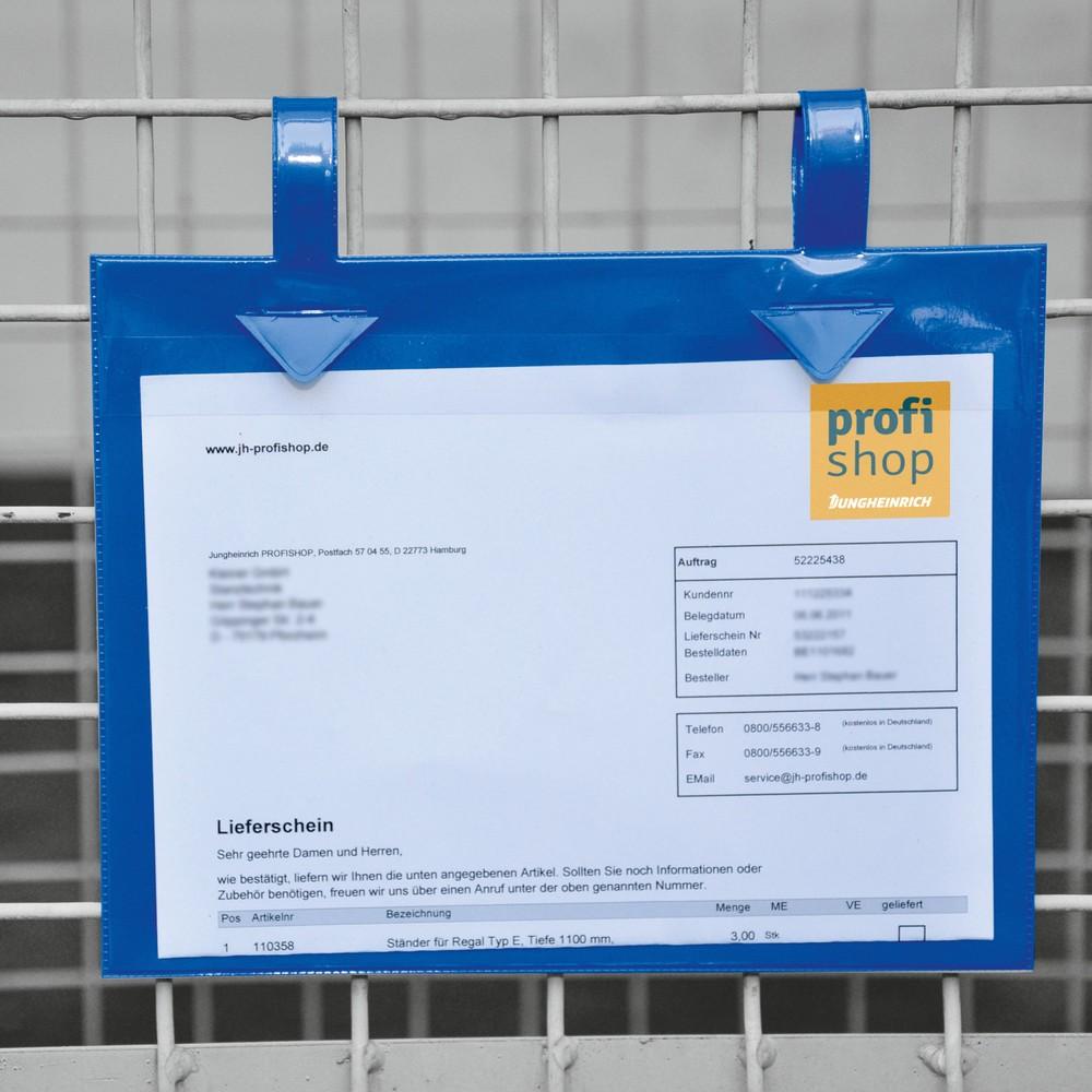 Image of Dokumententasche für Gitterboxen für einen sicheren Halt beim Transport Gitterboxtaschen sind ideal für den betriebsinternen Materialfluss geeignet. Einmal befestigt, bleiben die stabilen Dokumententaschen dauerhaft an den Gitterboxen. Sie tauschen bei Be