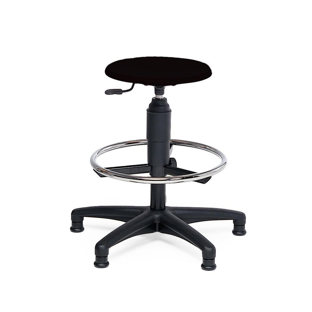 Image of Bequeme Sitzgelegenheit für ergonomisches Arbeiten Der Hocker mit Kunstleder verfügt über eine widerstandsfähige Sitzfläche aus Buchenholz, die zusätzlich mit einem Sitzpolster aus Kunstleder überzogen ist, sowie über ein stabiles Fusskreuz aus beständige