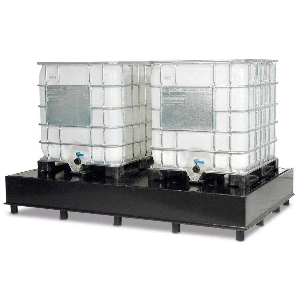 Image of Auffangwannen für IBC-Container sorgen für Sicherheit im Lageralltag Die Auffangwanne für IBC-Container ermöglicht in Ihrem Betrieb die sichere Aufbewahrung von konzentrierten Säuren und Laugen und wassergefährdender Stoffe. Die Auffangeinheit ist speziel