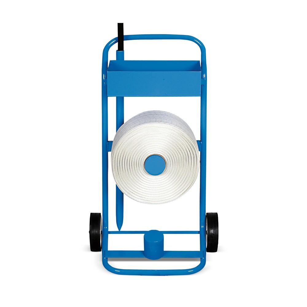 Image of Ein Kunststoffbandabroller für den Dauereinsatz an wechselnden Orten Der Bandabroller Komfort lässt sich auf seinen 2 Rollen leicht verfahren. Er ermöglicht Ihnen dadurch einen einfachen Transport des Bandmaterials und den Einsatz an wechselnden Orten. Da