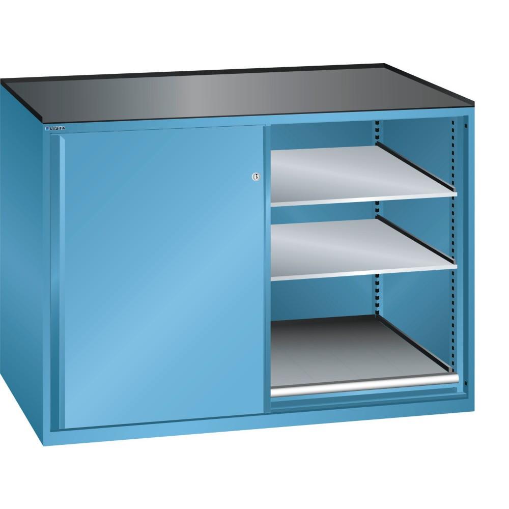 Image of  Ausstattung: Abrollrand 3-seitigLISTA Beistellschrank 2x36x36E, (BxTxH) 1430x753x1020mm, 2 Auszug-, 4 Verstellböden, lichtblau LISTA Beistellschrank 2x36x36E, (BxTxH) 1430x753x1020mm, 2 Auszug-, 4 Verstellböden, lichtblau