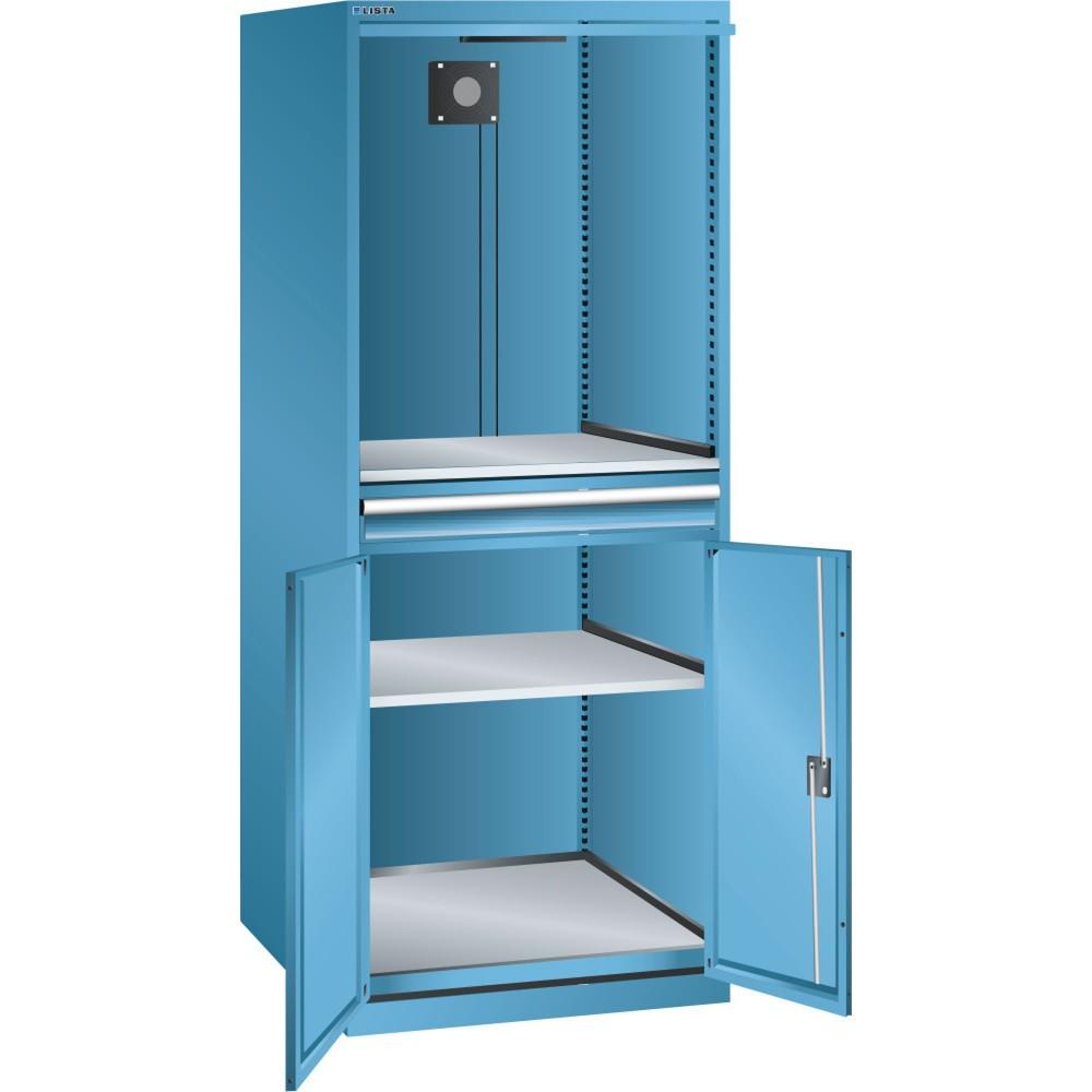Image of  Grösse Sichtfenster (B x H) mm: 445 x 525LISTA Computerschrank 36x36E, (BxTxH) 717x725x1625mm, D / Schuko, lichtblau LISTA Computerschrank 36x36E, (BxTxH) 717x725x1625mm, D / Schuko, lichtblau