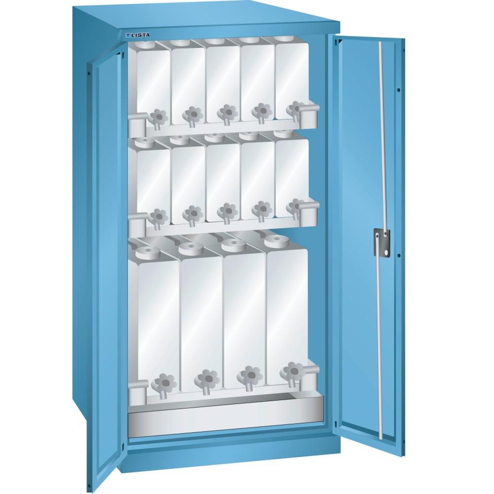 Image of  Türmaterial: VollblechLISTA Flüssigkeitsschrank, (BxTxH) 717x753x1450mm, 3 Kannenböden, lichtblau LISTA Flüssigkeitsschrank, (BxTxH) 717x753x1450mm, 3 Kannenböden, lichtblau