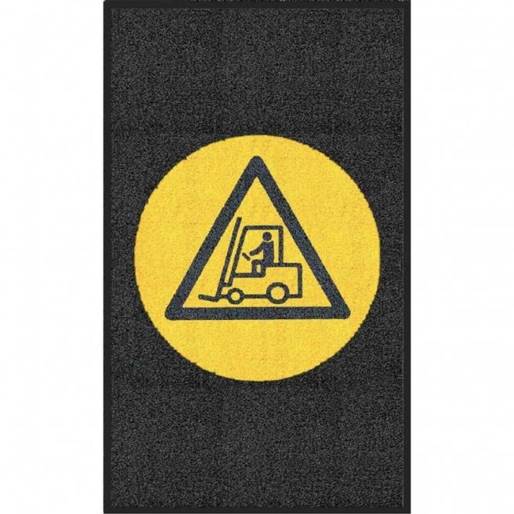"""Image of Multifunktionale Logomatte mit deutlich sichtbarem Verbotszeichen Diese Logomatte m2™ """"Achtung Stapler"""" eignet sich bestens als Schmutzfangmatte für Ihren Eingangs- oder Durchgangsbereich. Die Schlingenmatte besteht aus strapazierfähigem PVC und ist mit e"""