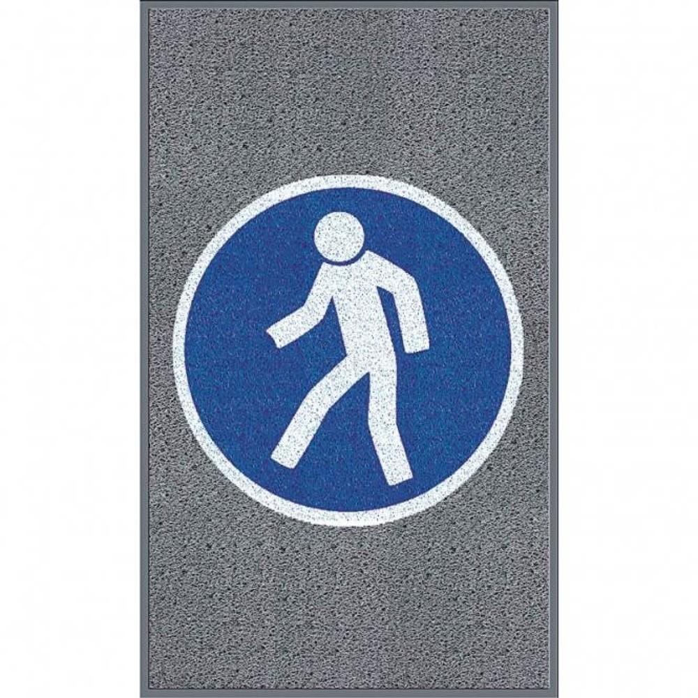Image of Multifunktionale Logomatte mit deutlich sichtbarem Verbotszeichen Diese Logomatte m2™ 'Für Fussgänger' eignet sich bestens als Schmutzfangmatte für Ihren Eingangs- oder Durchgangsbereich. Die Schlingenmatte besteht aus strapazierfähigem PVC und ist mit ei