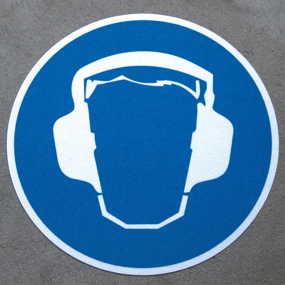 Image of  Mit rutschfester Aluminiumoxidkörnung auf PVC TrägermaterialGehörschutz tragen, ø 400 mm Gehörschutz tragen, ø 400 mm