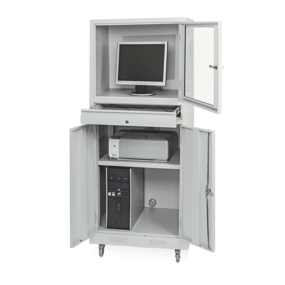 Image of Der mobile Computerschrank BASIC – Die richtige Lösung für Sie und Ihren Computer Dieser Industrie-PC-Schrank bietet Ihnen eine fachgerechte und flexibel einsetzbare Vorrichtung für die Computernutzung. Abschliessbare Flügeltüren und ein Schubfach mit Vol