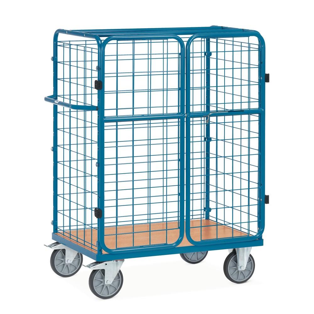 Image of Für Pakete gedacht, für vieles mehr bestens geeignet Der Paketwagen von fetra® hat alle Vorteile eines mobilen Kastenwagens, kann aber mit den Doppelflügeltüren verschlossen werden. Dafür ist in den Rohrrahmen ein Riegelverschluss integriert. Dieser kann