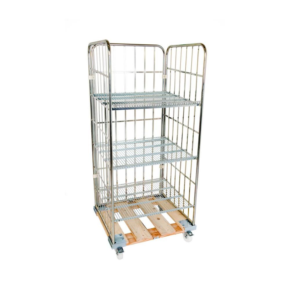 Image of 3-seitiges Rollregal mit 3 Zwischenböden und Holz-Rollplatte Dieser praktische Rollbehälter eignet sich ideal für den täglichen Einsatz in vielen Arbeitsbereichen. 3 Gitterwände sorgen für den Schutz des Ladeguts, 3 einhängbare Böden bieten reichlich Plat