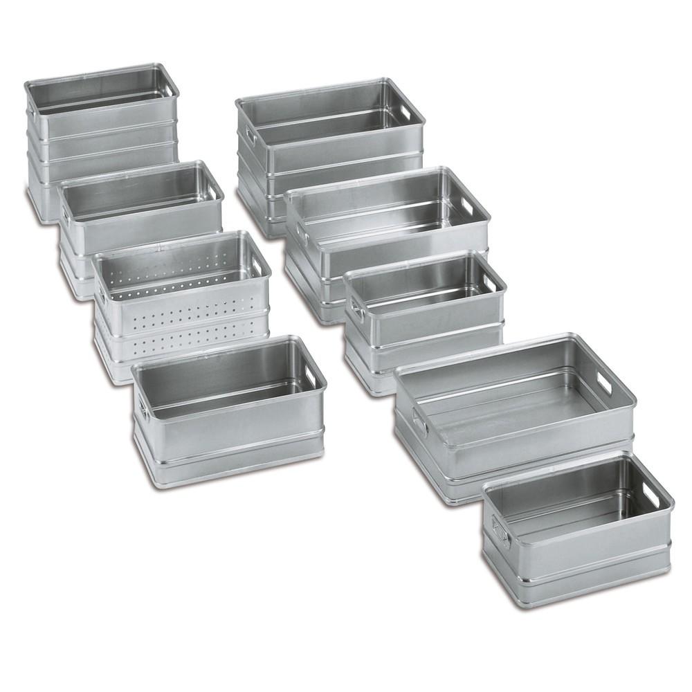 Image of Transportkisten aus Aluminium für effiziente Transportwege Sie verfügen mit diesen Kisten aus Aluminium über Qualitätsbehälter für inner- und ausserbetriebliche Transportwege. Die Transportkästen sind stapelbar und durch ihren ebenen Boden für den Einsatz
