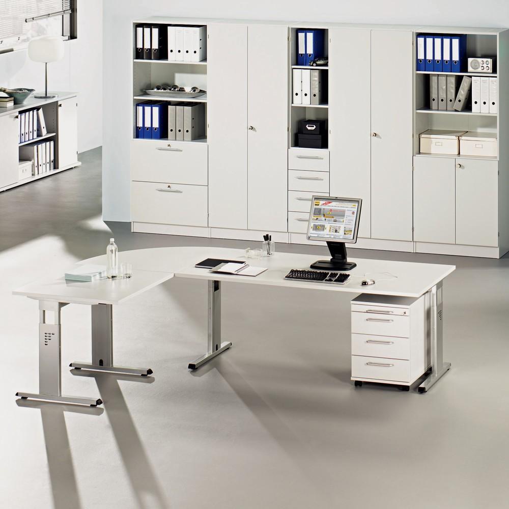 Image of Trapezplatte höhenverstellbar – erweitert Ihre Schreibtischfläche Ihren Schreibtisch mit Tischgestell, das höhenverstellbar ist, erweitern Sie mit diesem trapezförmigen Eckstück. Es verfügt über einen stabilen C-Fuss, den Sie in der Höhe verstellen und an