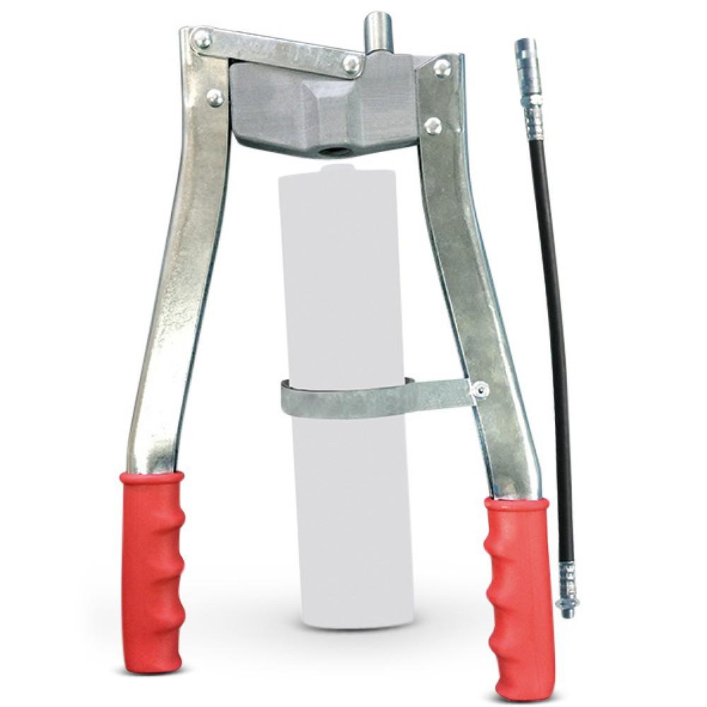 Image of Doppelte Handhebel-Konstruktion für ein kontrolliertes Abschmieren Mit der Zweihand-Fettpresse SAMOA-HALLBAUER PZP erhalten Sie ein stabil gefertigtes Produkt zur täglichen Verwendung. Die Fettpresse ist für den Einsatz in Handwerk, Industrie und in der L